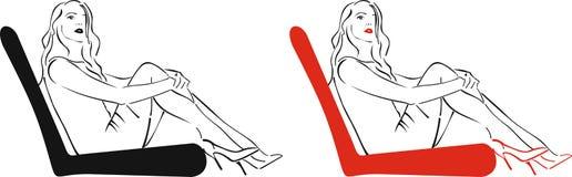 A menina com bordos vermelhos Fotografia de Stock