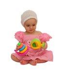 Menina com brinquedos Fotos de Stock Royalty Free