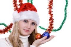 Menina com bulbo do Natal Imagem de Stock Royalty Free