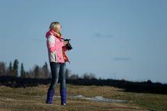 Menina com câmera Foto de Stock