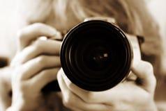 Menina com câmera Fotografia de Stock