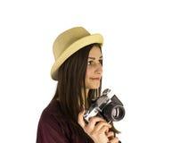 Menina com a câmera velha do dslr Foto de Stock