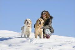 Menina com cães Fotografia de Stock Royalty Free