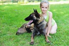 Menina com cães Imagem de Stock