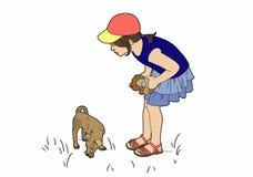 Menina com cão pequeno Imagens de Stock Royalty Free