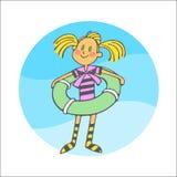 Menina com círculo do salvamento Imagens de Stock Royalty Free