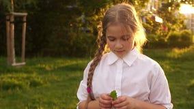 Menina com cabelo bonito em um fundo da natureza Adolescente tímido no sol video estoque