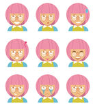 Menina com cabelo cor-de-rosa Fotografia de Stock Royalty Free