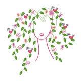 Menina com cabelo das folhas Imagem de Stock