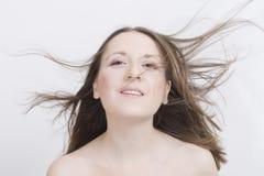 Menina com cabelo do vôo Foto de Stock