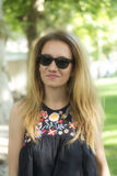 Menina com cabelo longo Foto de Stock Royalty Free