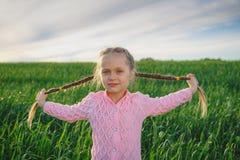 A menina com cabelo longo entrançado trança o retrato de sorriso exterior foto de stock