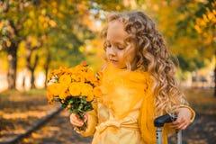 Menina com cabelo louro no fundo do outono imagem de stock royalty free