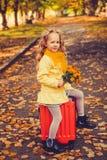 Menina com cabelo louro no fundo do outono fotografia de stock royalty free