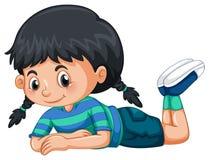 Menina com cabelo preto ilustração royalty free