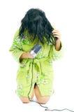 Menina com cabelo-secador imagens de stock
