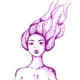 Menina com cabelo tornando-se ilustração do vetor