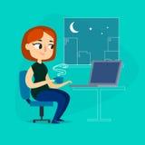 Menina com caderno e xícara de café na noite Imagens de Stock Royalty Free