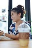 Menina com café Imagem de Stock Royalty Free