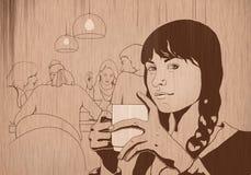Menina com café ilustração stock