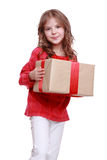 Menina com caixa de presente Fotografia de Stock Royalty Free