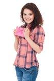 Menina com caixa de presente Imagens de Stock Royalty Free