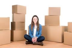 Menina com caixas Imagem de Stock Royalty Free