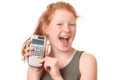 Menina com calculadora imagens de stock