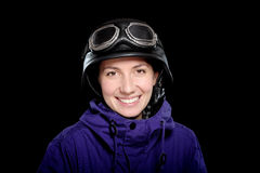 Menina com capacete e óculos de proteção Fotografia de Stock Royalty Free