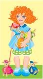 Menina com carneiros coloridos Fotos de Stock