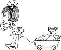 Menina com carro de bebê Fotos de Stock Royalty Free