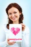 Menina com cartão Fotografia de Stock