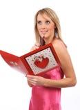 Menina com cartão dos Valentim Foto de Stock Royalty Free