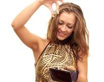 Menina com carteira Foto de Stock Royalty Free