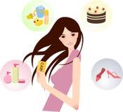 Menina com cartão Fotografia de Stock Royalty Free