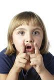 A menina com cede a boca Fotografia de Stock Royalty Free