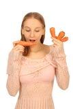 Menina com cenouras foto de stock