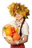 Menina com cesta Imagens de Stock Royalty Free