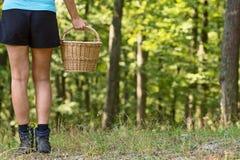 Menina com a cesta de vime nas madeiras Imagens de Stock