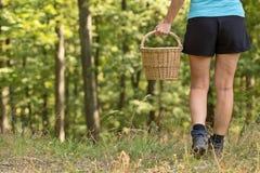 Menina com a cesta de vime nas madeiras Foto de Stock Royalty Free