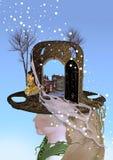 Menina com chapéu da janela Foto de Stock Royalty Free