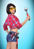 Menina com chave Foto de Stock