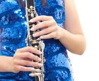 Menina com clarinet Imagem de Stock Royalty Free