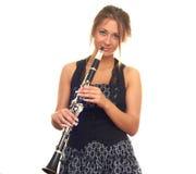 Menina com clarinet Imagem de Stock