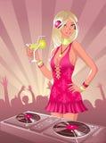 Menina com cocktail ilustração royalty free