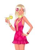 Menina com cocktail ilustração stock