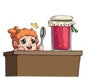 Menina com a colher perto do frasco do doce Imagem de Stock