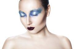 Menina com composição azul. Foto de Stock Royalty Free