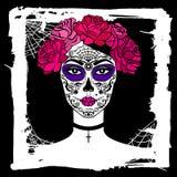 Menina com composição do crânio do açúcar Dia mexicano dos mortos Fotografia de Stock Royalty Free