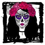 Menina com composição do crânio do açúcar Dia mexicano dos mortos Imagem de Stock